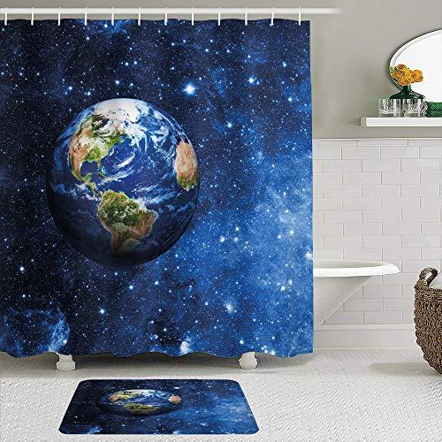 KISSENSU Badezimmer-Vorhang-Set,Weltraumaußenansicht des Planeten Erde im Sonnensystem mit Sternenleben auf dem Globus-Themenbild,Duschvorhang gedruckt wasserdichter Vorhang Badematte