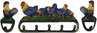Import Wholesales Rooster & Chickens Wall Hook 3 Piece Set Colorful Painted Cast Iron Coat Hangers Rack