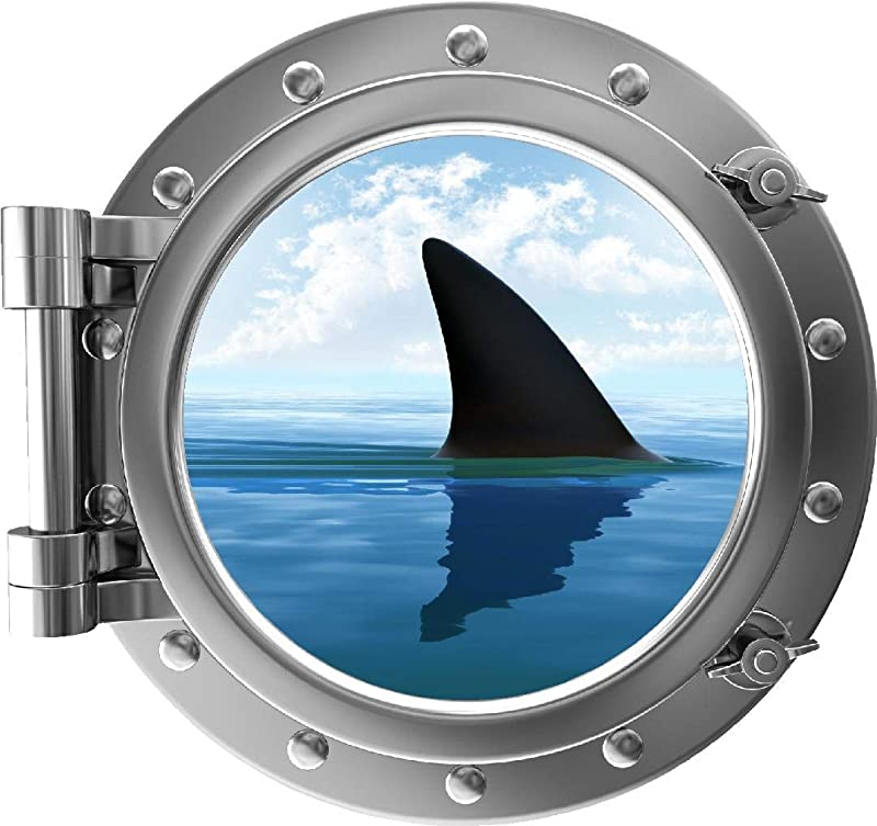 18 Porthole 3D Window Wall Decal Shark Fin Silver Port Scape Under The Sea Water Ocean Fish Childrens Wall Art Kids Boys Room Decor Removable Fabric Vinyl Peel And Stick Instant View