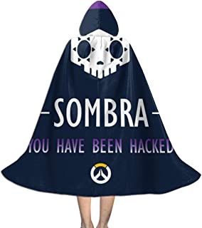 QINWEILU Sombra You Have Been Hacked Ov-erwatch Unisex Kids Hooded Cloak Cape Halloween Christmas Party Decoration Role Cosplay Costumes Outwear Black
