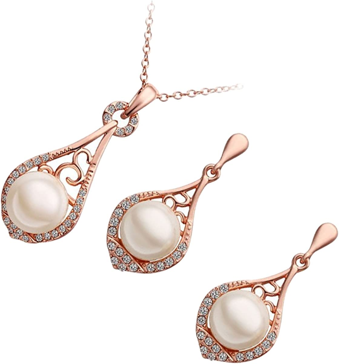 GWG Women's Jewelry Sets Gift Precious Metal Plated Set of Pendant Necklace and Earrings Pearl Adorned by Clear Crystals for Women
