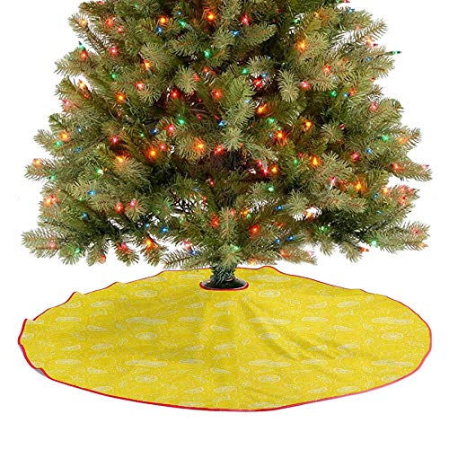 Homesonne Xmas Tree Mat Juicy Lemons Citrus Fresh Slices with Leaves and Dots Health Vitamins Food Pattern Holiday Party Tree Mat for Merry Christmas Holiday Party Decorations Yellow White 48 Inch