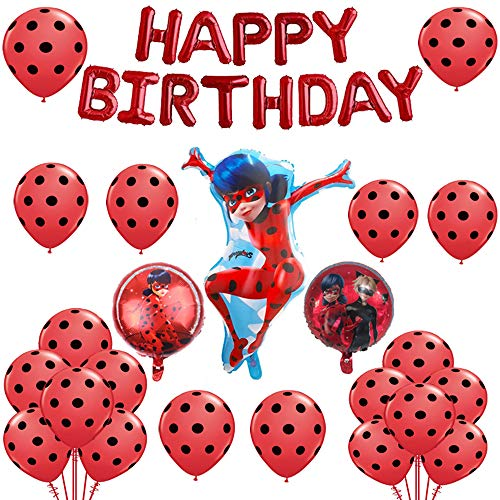 Geenber Miraculous Ladybug Luftballons Set Aluminiumfolie Ballon Happy Birthday Party Dekoration Lieferungen für Marienkäfer Superheld Mädchen Kinder (24er Pack)