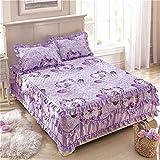 Amswsi Lado de algodón Engrosado 1.8 m colchón de algodón colchón Funda Protectora Antideslizante-Rose Love_2.2 * 2.4 Funda de edredón Individual