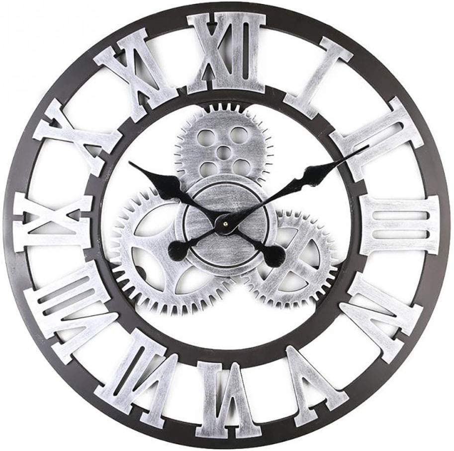 24 inch 3D Large Wall Clock Classic Vintage Wooden Noiseless Silent Gear Retro Gear Hanging Clock Roman Numeral Horologe European Style Steampunk Industrial Decor for Living Room,Silver,6060cm