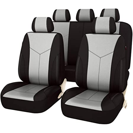 CAR PASS New Arrival Black and Black 6PC Car Passage Universel Cuir Housses de Si/ège Auto