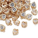 Beadthoven 100pcs Cubic Zirconia Alloy Charms Heart Shaped KC Gold Pendants for Jewelry Making Choker Tiny Dangle Accessories