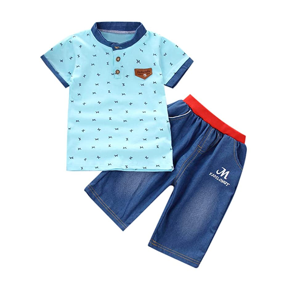 Toddler Baby Boys Cotton Clothes Sets Short Sleeve Tee and Denim Pants Outfits Letter Printed Two-Piece 3M-4T
