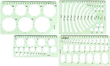 JOYISEN 4PCS Drawing Templates Set Circle Oval Radius Template Plastic Rulers Clean Green Measuring Templates for School Office