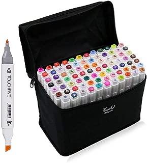 マーカーペン 油性 80色 標準色セット アルコールペン - Agracelady - 2種類のペン先 双頭 太細両用 塗り絵 描画 落書き 学習用カラー 水彩ペン 収納ケース付き