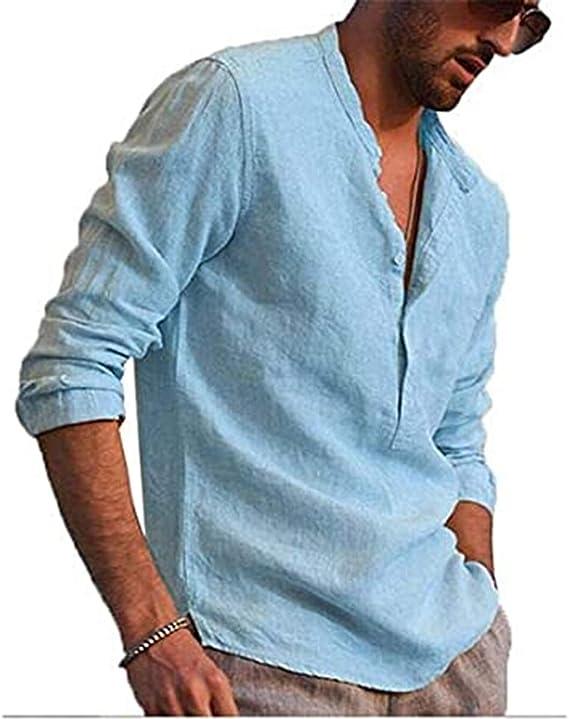 Camiseta Casual para Hombre en Algodón y Lino con Cuello Alto Manga Larga en Color Sólido