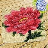 Kit de Gancho de pestillo DIY artesanía Alfombra abrigado Conjunto de Bordados de Flores Alfombra de Ganchillo para niños Adultos 17.7''x17.7 '', b (Color : A)