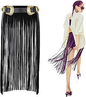 Vintage Punk Tassel Belt,VITORIA'S GIFT Women Leather Fringe Dress Belt Gypsy Style Tassel Belt