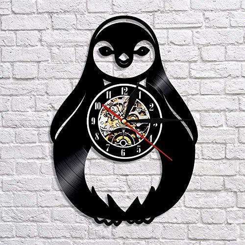 hxjie Pinguin Silhouette Wanduhr Vinyl Schallplatte Uhr niedlichen arktischen Tier Wandbild Wandbild Kindergarten Dekoration für Kinderzimmer