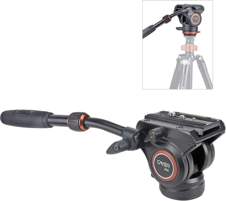 Cabezal de Fluido, trípode de cámara de Video Cayer H4 Cabezal de Arrastre de Fluido para cámara Canon Nikon Sony Olympus Panasonic DSLR, con Tornillo de Montaje de 3/8
