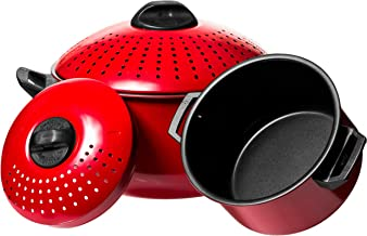 Has_Shop Pasta Cooker Stock Pot 2 Piece Quality Pasta Pot w/Strainer Lid - Red