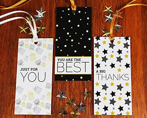 "All Occasion Gift Tags with Ribbon String by Saybrook. Set of 24 Custom Tags with Uncoated Back for Writing 'to from"" and Personalized Messages. White, Gold, Black"