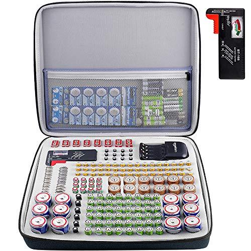 Batteriebox Aufbewahrungsbox Tragetasche mit Batterietester (BT168), Tasche Halter für 250+ Batterien AA AAA AAAA 9 V 6 V C D Lithium 3 V A23 NI-MH-Ladegerät (ohne Batterien und Ladegerät)