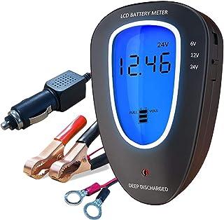 Testador de bateria automotiva de carro 6V/12V/24V, voltímetro de sistema de carregamento, analisador digital de LCD, alte...