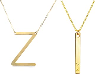 2Pcs Vertical Bar Sideways Initial Necklace for Women Large A-Z Alphabet Tiny Heart Personalized Name Jewelry