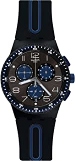 Swatch Power Tracking Quartz Silicone Strap, Black, 20 Casual Watch (Model: SUSB406)