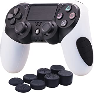 YoRHa Silicone Half extra Thick Cover Skin Case for Sony PS4/slim/Pro Dualshock 4 controller x 1(white) With Pro thumb grips x 8