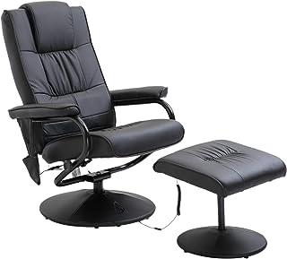 HOMCOM Fauteuil de Massage Vibration Electrique Relaxation avec Chauffage Noir