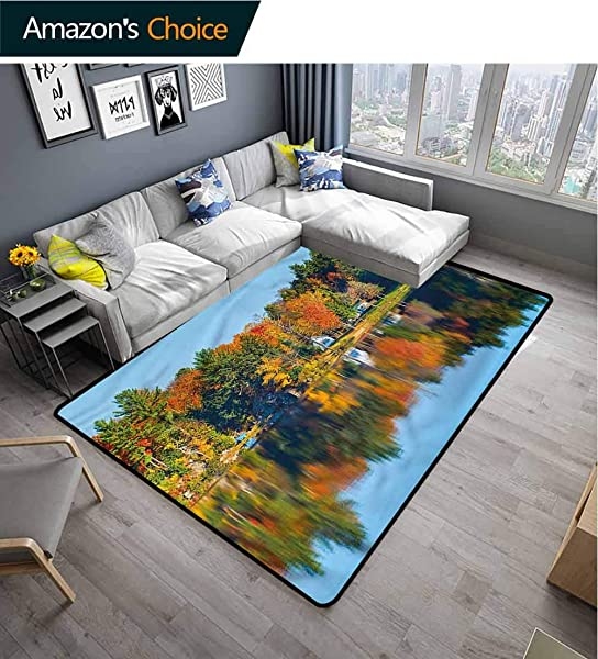 TableCoversHome Landscape Moir Kids Rugs Lake House In Autumn Pattern Printing Rugs Durable Carpet Area Rug Living Dinning Room Bedroom Rugs And Carpets 6 X 9