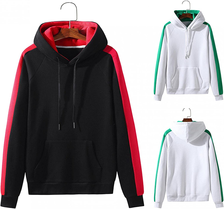 Men's Hoodie Stitching Color Athletic Sweatshirt Long Sleeve Pocket Drawstring Pullover Tops Hooded Sweatshirt Fall Coat