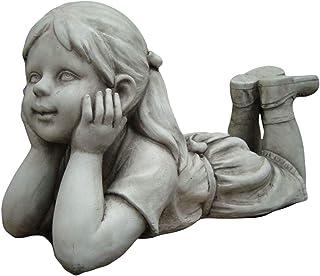 Statue Girl Thinking Sculpture Figurine Ornament Feature Garden Decor 33X14X17cm