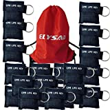 Elysaid 100 pcs/pack CPR Barrier Keychain with Cpr Face Shield CPR Life Key for CPR Aed Training Black