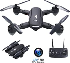 $59 » RCtown R10 Foldable FPV Drone with Camera 720P for Adults, WiFi FPV Live Video RC Quadcopter with Altitude Hold, Follow Me, Gesture Photography