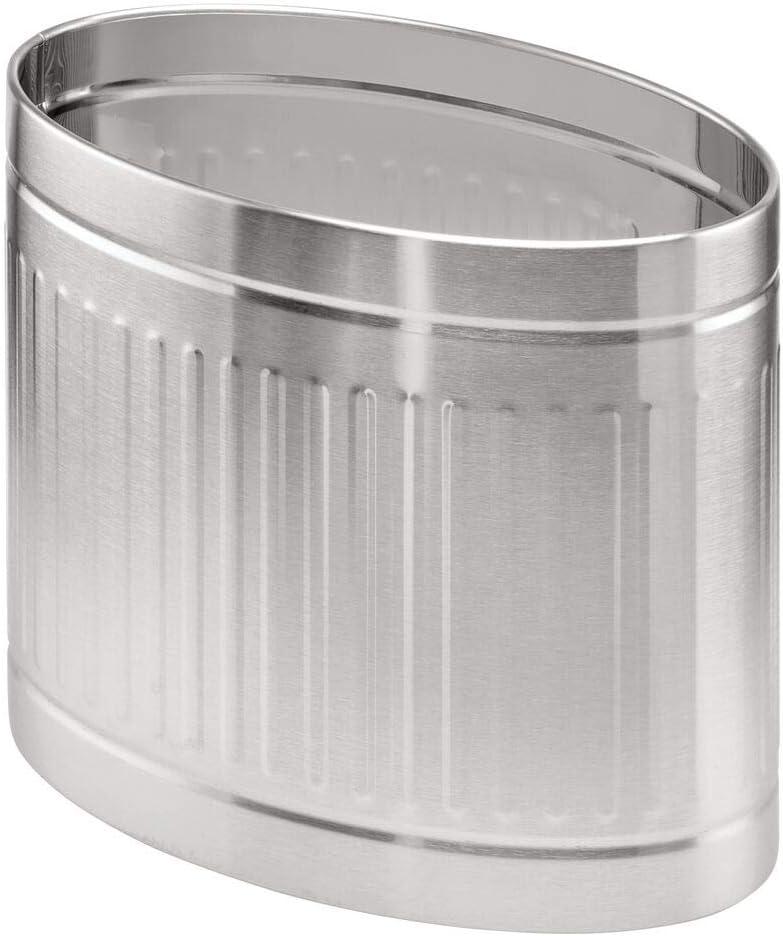 mDesign Papelera metálica para baño o aseo – Elegante cubo de basura ovalado – Contenedor de residuos de diseño en metal resistente con revestimiento anticorrosión – plateado