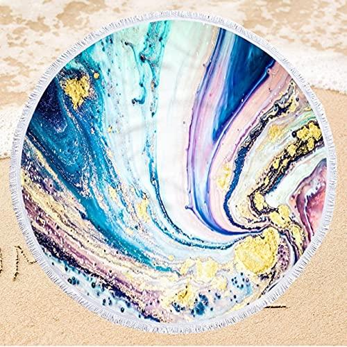 IAMZHL Toalla de Playa Redonda de Microfibra con Estampado de 150 cm Toalla de baño Suave para Nadar con Borla Toalla de Playa de Verano-a43-Diameter 150cm