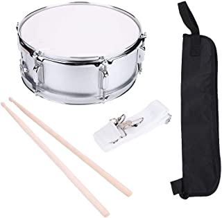 Snare Drum, Stainless Steel Student Snare Drum Kit Set with Bag Drumstick Strap and Silencer Mute for Beginner 15.7 x 6inch