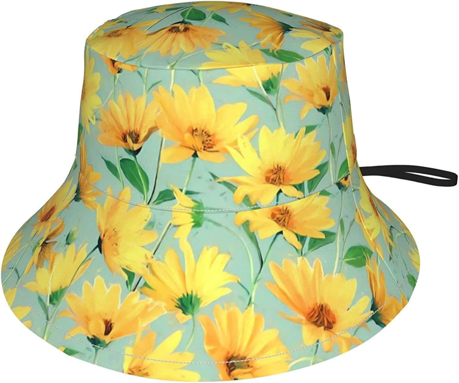 Painted Golden Yellow Daisies Kids Bucket Hat Sun Protection Hat for Boys Girls Summer Hat