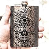 8oz BLACK Sugar Skull Pattern Flask L1