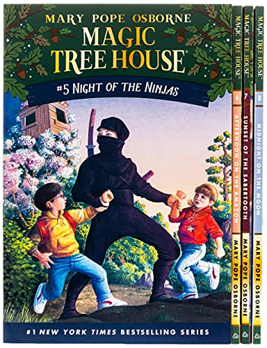 Compare Textbook Prices for Magic Tree House Boxed Set, Books 5-8: Night of the Ninjas, Afternoon on the Amazon, Sunset of the Sabertooth, and Midnight on the Moon BOX Edition ISBN 9780375822667 by Mary Pope Osborne,Sal Murdocca