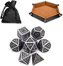 Dice Tray with 7-Die DND Polyhedral Metal Dice, Dice Bag, DND Dice Set for RPG, Pathfinder, Shadowrun, D&D, Role Palying G...