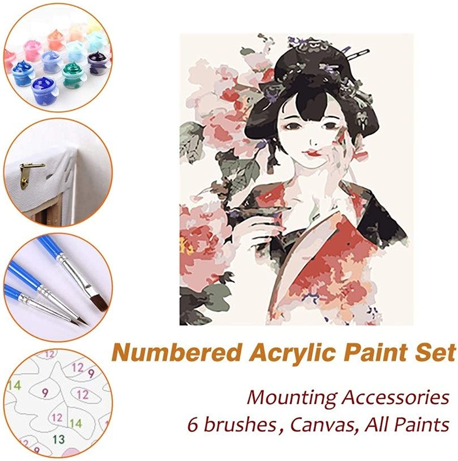 Puzzle House Paint Max Paint by Numbers Kits for Kids Adults Beginner Teens Pine Framed DIY Oil Acrylic Painting Paint Sets, Ink Painted Geisha 524 (color   With Pine Frame, Size   500mm x 650mm)