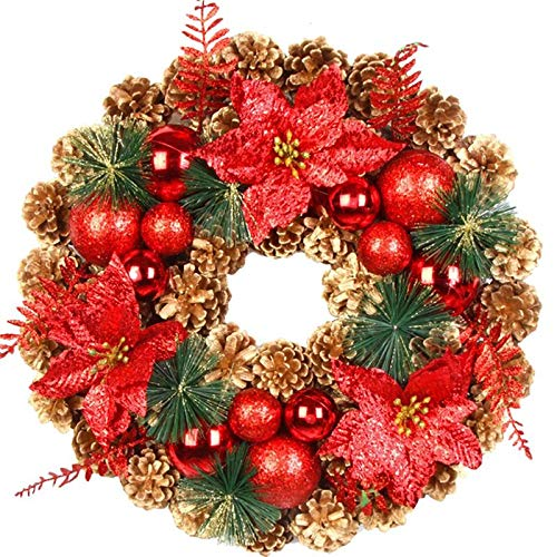 QT HOUSEWARE Fall Wreaths for Front Door 16 Inch - Christmas Pinecone Wreath Artificial Flowers Garland Flower Hanging Decor for Home Christmas Decoration DIY Floral Wreaths