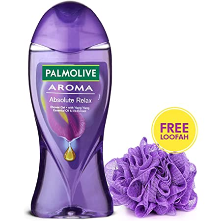 Palmolive Aroma Absolute Relax Body Wash (with Free Loofah), Gel Based Shower Gel with 100% Natural Ylang Ylang Essential Oil & Iris Extracts - pH Balanced, No Parabens, No Silicones, 250ml Bottle
