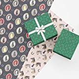 Equestrian Gift Wrap Collection, 9 Folded Sheets of Wrapping Paper with Horses, Horseshoes, Trophies and...