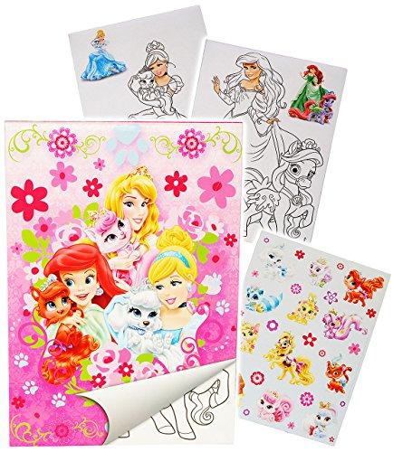 alles-meine.de GmbH Sticker & Malblock -  Disney Princess - Prinzessin - Palace Pets  - Malbuch / Malblock - A5 mit Aufkleber - Rapunzel Arielle Schneewittchen - Malvorlagen Ma..