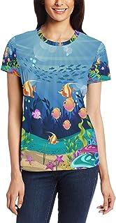XiangHeFu T-shirt voor vrouwen meisjes koraal rif en vis aangepaste korte mouw