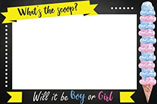 speedy orders What's The Scoop Gender Reveal Party PhotoBooth Poster, Ice Cream Party Selfie, Baby Shower Photobooth Poster Gender Reveal Prop Print Size 36x24