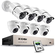 ZOSI Full HD 1080p Security Camera System, 8x 1080p HD Weatherproof Outdoor Surveillance Camera, 8CH 1080P CCTV DVR Recorder and 2TB Hard Drive, 100ft Night Vision, Customizable Motion Detection