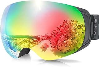 findway Ski Goggles, OTG Snowboard Goggles Magnet Interchangeable Lens Winter Snow Goggles Anti-Fog UV Protection Helmet C...