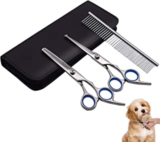 PetQoo Dog Grooming Scissors Set, Professional Pet Grooming Scissors kit with Straight and Thinning Cutting Shears Scissors Suitable for Large and Small Dogs or Cat or Other Pets