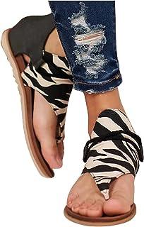 Sandales Femmes Plates, Confortables Été Plage Vacances Décontractée Vintage Toe T-Sangle Sandales Romaines Sexy Nu Pieds ...